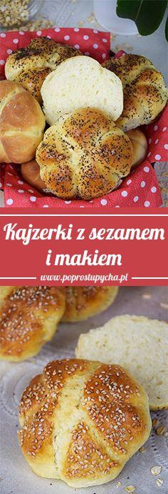 Ostatnio przygotowywałam swoje pierwsze w życiu kajzerki i powiem Wam, że wyszły świetne! Dzisiaj zrobiłam je od nowa tylko tym razem wykonałam je z sezamem oraz makiem :)  #poprostupycha #pieczywo #kajzerki #wypieki #przepis Hamburger, Bread, Food, Brot, Essen, Baking, Burgers, Meals, Breads