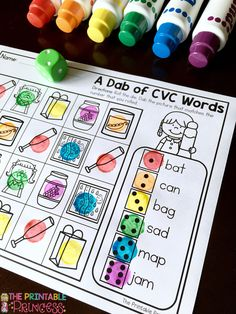Everything you need to get students going on CVC words! Centers, practice pages and games!