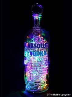 bottle crafts with thread Upcycled Absolut Vodka Mood Therapy Liquor Bottle Light w/Multicolored LEDs Liquor Bottle Lights, Liquor Bottle Crafts, Mini Liquor Bottles, Alcohol Bottles, Diy Bottle, Vodka Bottle, Led Bottle Light, Glass Bottle, Absolut Vodka