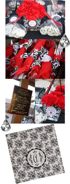 Red And Black Birthday Decorations | ... this black and red damask theme used to celebrate a 40th birthday