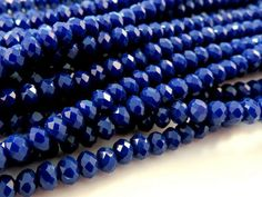75 Cobalt Glass Beads Opaque Dark Blue Faceted Rondelle Abacus