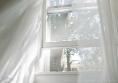 Love the all white. Window View, Open Window, Through The Window, Shades Of White, White Aesthetic, All White, Light And Shadow, Deco, Aesthetic Wallpapers