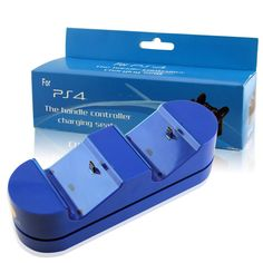 PS4 Controller Charger Dual Charging Station Wireless PS4 Charger Dualshock Charging Dock Dual Charger PS4 Charging Station for PlayStation 4 Gamepad Blue