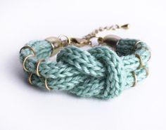 Knitted DoubleKnotBracelet in mint by ChezKristel on Etsy, $17.00