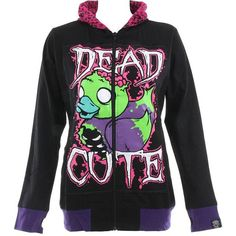 Cupcake Cult Dead Cute hoodie – womens black hoodies – Cupcake Cult UK (80 CAD) ❤ liked on Polyvore featuring tops, hoodies, jackets, outerwear, shirts, sweatshirt hoodies, shirt hoodie, hooded pullover, hoodie top and hoodie shirt
