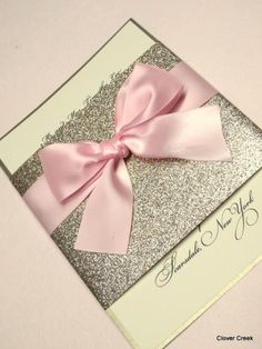 Sparkle invitation  picture this with a coral ribbon and navy lettering on the invite!