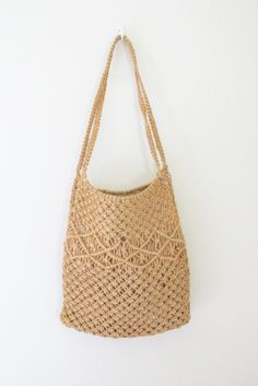 Long Natural Woven Macrame Hemp Bag by freekittensvintage on Etsy, $22.00