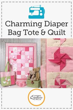 "Although changing diapers might not be the most glamorous job, you can at least make the accessories cute and fun. With this pattern using charms (5"" x 5"" squares), you can create a sweet personalized diaper bag for your friend or relation. This tote has 6 different pockets to keep any diaper changer organized."