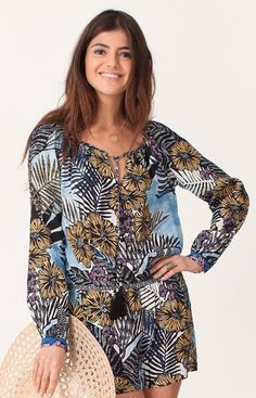 Hale Bob - Matilde Palm Romper In Blue  Rayon Crepe Adjustable Tie With Elastic at Neck Shorts With Pocket.