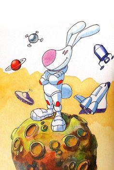 """Ilustração para o livro """"O Coelho Astronauta""""."""