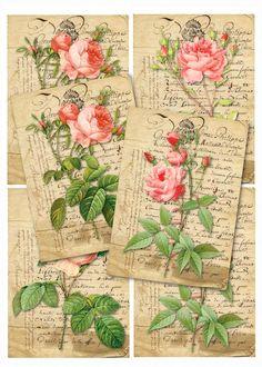 ROSEN+4+Vintage++Postkarten+von+Vintage+Prints+auf+DaWanda.com