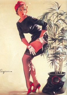 "Gil Elvgren - ""Modest Maneuver"" 1969 Vintage Pin Up Girl Illustration Pin Up Vintage, Retro Pin Up, Vintage Glamour, Gil Elvgren, Pinup Art, Minnesota, Mode Pin Up, Vargas Girls, Pin Up Illustration"