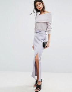 Jaeger Split Detail Long Satin Skirt