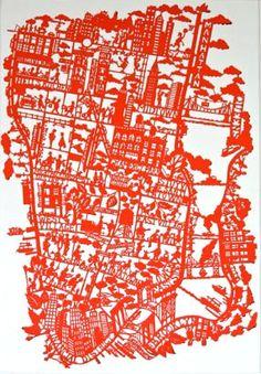 famille summerbelle. paper cut map.