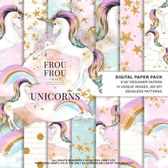Unicorns and Rainbows Paper Pack by Frou Fou Craft on @creativemarket