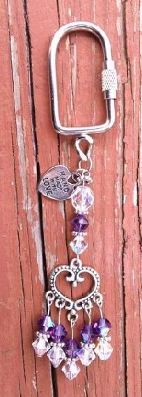 Sparkling Swarovski Amethyst and Crystal Beaded Keychain!  FREE Shipping!!