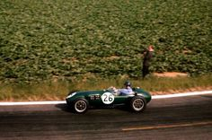Allisons' Lotus 12 amongst the Champagne-Ardenne fields, i wonder what that crop is!? The 12 was built as an F2 contender originally  but quickly evolved into a GP car, Lotus' first, as the capacity of the Coventry Climax FPF engine progressively edged its way towards 2.5 litres. (