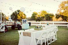 rectangle tables, white table linens, burlap runner