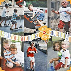 "Summer at the Park - Design by Karen Lee - Sometimes a title is all the text a page needs. Karen lets her vibrant photos speak for themselves, saving on enlargements by filling the page with 4x6"" photos. She caught her kids at spontaneous play by shooting from a park bench."