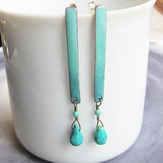 Hey, I found this really awesome Etsy listing at https://www.etsy.com/listing/210824462/teal-green-post-dangle-earrings