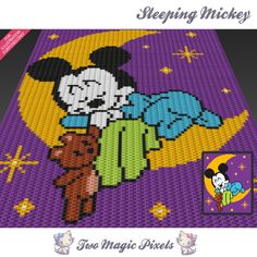 Sleeping Mickey is a c2c graph pattern for a children blanket inspired by a well known cartoon character.  This graph design is 80 squares wide by 100 squares high. It requires 7 colors for the character plus 1 extra color for the background.  Pattern PDF includes: - color illustration for reference - color square pattern  Image only, no written counts.  This listing is for a digital pattern only. The PDF file of the pattern will be available for instant download once payment is confirmed…