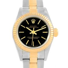 16686 Rolex Oyster Perpetual NonDate Steel Yellow Gold Ladies Watch 67193 SwissWatchExpo