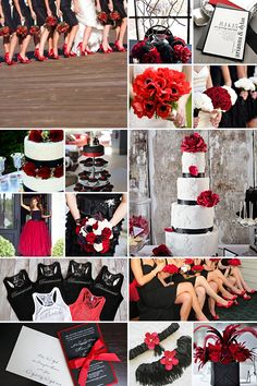 Black and Red Weddings is part of Black red wedding - Black and Red weddings The combo of red and black contribute greatly to the look and feel of sophistication, style, elegance and let's not forget passion! Black Red Wedding, Red And White Weddings, Wedding 2017, Our Wedding, Dream Wedding, Geek Wedding, Wedding Stuff, Red Wedding Decorations, Wedding Themes