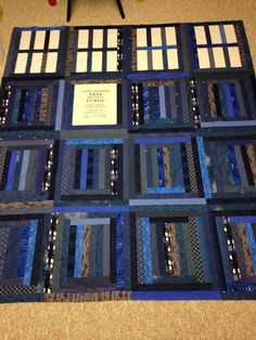 Jelly Roll Quilt Patterns, Modern Quilt Patterns, Quilt Patterns Free, Tardis Quilt Pattern, Doctor Who Quilt, Tardis Blue, Boy Quilts, House Quilts, Police Box