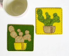 Cactus  Pure wool felt Coasters set of 2 tableware by InaSudjana