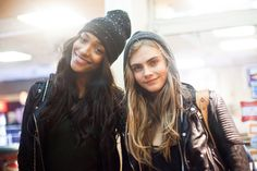 Jourdan Dunn & Cara Delevingne after the Victoria Secret 2012 fashion show taping #offduty