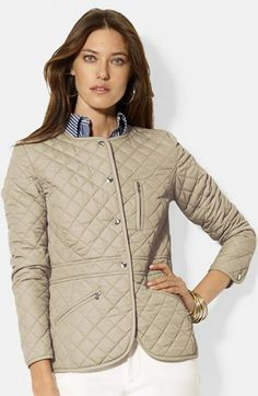 Lauren Ralph Lauren Collarless Quilted Jacket on shopstyle.com