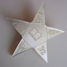 Eastern Star Brooch Mother of Pearl Order of by nanascottagehouse