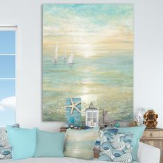 Whether you're looking to complete a room with some beach wall art or you want to go for a full-on beach theme in your home, you'll be glad to know th...   Sunrise Coastal Canvas #WallDecor #CoastalWallDecor #CoastallWalls #BeachDecor Coastal Wall Decor, Coastal Art, Beach House Decor, Coastal Style, Coastal Living, Beach Themed Decor, Coastal Interior, Seaside Decor, Coastal Bedrooms