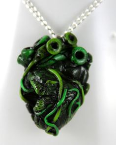 Zombie Love Anatomical Heart Necklace Jewelry by NeverlandJewelry, $25.00