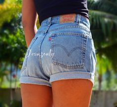 Levis high waisted jeans shorts by Jeansonly on Etsy, $34.99 - I love these, and they're not too short to where you're literally showing your butt cheeks!!