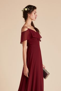 f4f2d8f1bb33 Jane Convertible bridesmaid dress in Burgundy with ruffles