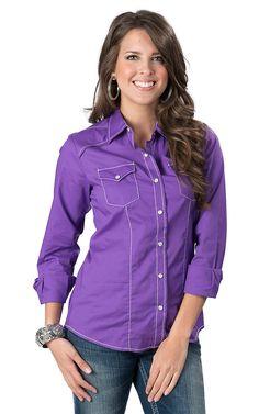 Cruel Girl Women's Purple Long Sleeve Western Snap Shirt