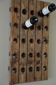 Antique Riddling Style Wine Rack Wall Hanging (Walnut)