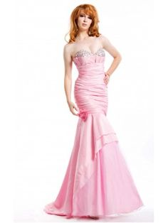 Elegant Sweetheart Mermaid Taffeta Bandage Light Pink Strapless Prom Dress