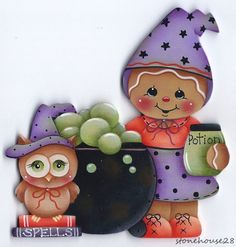 HP GINGERBREAD Halloween FRIDGE MAGNET #Handpainted