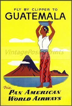 Guatemala 1950 Pan American Airline Vintage Poster Print Art South America