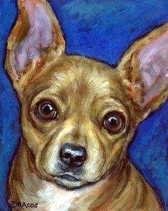 Chihuahua Dog Art 8x10 Print of Original Painting by DottieDracos