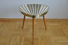 Original Mid Century Plant Stand. Striped. Cream and pearl taupe. 1950s. Plant stand. Small Table. Germany. 1007