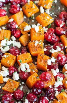 Honey Roasted Butternut Squash with Cranberries and Feta: This sweet and savory side dish is perfect for the holidays and loaded with Fall flavor! Thanksgiving Sides, Thanksgiving Recipes, Holiday Recipes, Holiday Foods, Dinner Recipes, Thanksgiving Traditions, Christmas Recipes, Vegetable Recipes, Vegetarian Recipes