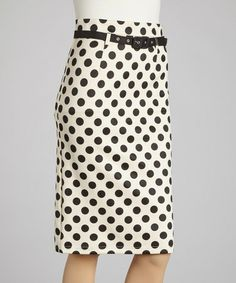 Take a look at this Black & White Polka Dot Pencil Skirt by Ezra on #zulily today! This type of skirt is so 50's and never seem to go out of style. You need at least one of these in your closet.