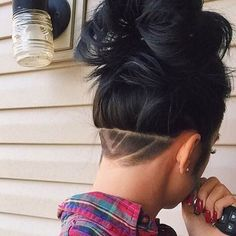 Long Hair Undercut with Design