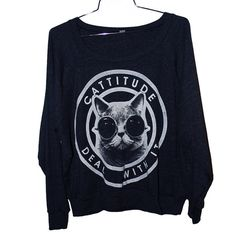 black cattitude sweater