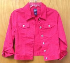 NWOT Girls Gap Denim Jean Jacket Fall Coat Pink Size Medium #JeanJacket