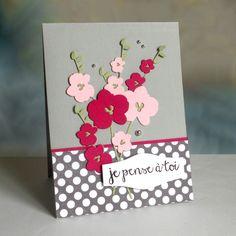 card flowers hollyhocks tall flower - Anniversaire 4enScrap – inspiration de Couleur et Scrap