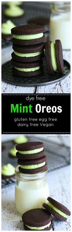 Mint Oreos (Gluten Free Dairy Free Vegan) - Petite Allergy Treats Model Trains Extra Extra extraextramodeltrains Beautiful Pins Mint Oreos (gluten free Vegan egg free)- Chocolate mint cookies colored with just a touch of spinach. gluten free, dairy f Gluten Free Oreos, Gluten Free Sweets, Gluten Free Cookies, Vegan Sweets, Gluten Free Baking, Dairy Free Recipes, Vegan Desserts, Vegan Gluten Free, Dessert Recipes